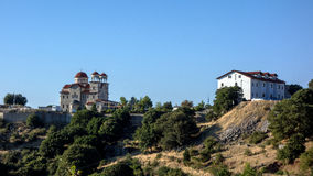 Greek Orthodox Church and Monastery. Small Greek Orthodox church and monastery on secluded mountain ridge, Greece Royalty Free Stock Image
