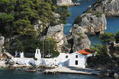 Greek orthodox church in Parga, Greece Royalty Free Stock Images