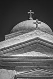 Greek Orthodox Church on Santorini B&W Stock Image