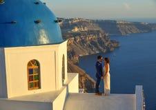 Greek Orthodox church on Santorini Island stock image