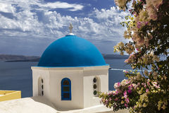 Greek Orthodox Church of St. Nicholas in the in Oia town on Santorini island in Greece Stock Image