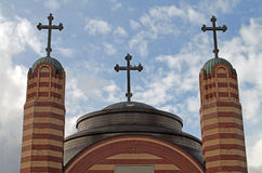 Greek Orthodox Church with Three Crosses Royalty Free Stock Images