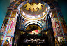 The Greek Orthodox Church of the Twelve Apostles i. N Capernaum. Inside View Royalty Free Stock Images