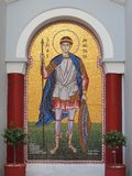 Greek Orthodox Icon Outside Church, Greece. Mosaic Greek Orthodox icon of Saint Demetrios outside church of same name, Greece royalty free stock photography