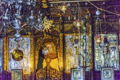 Greek Orthodox Icons Church Nativity Bethlehem Palestine. Greek Orthodox Icons Church of the Nativity Altar Nave Bethlehem West Bank Palestine. Chruch located Royalty Free Stock Images