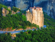 Overhead view of monastery in Meteora, Greece. Overhead view of monastery on clifftop in Meteora, Greece royalty free stock image