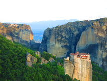 Monastery on cliff ledge in Meteora, Greece Stock Photography