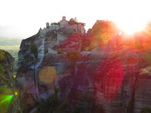 Sun drenched monastery in Meteora, Greece Royalty Free Stock Images