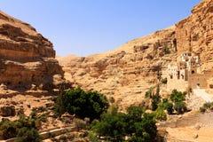 The Greek Orthodox Monastery of Saint George in Wadi Qelt. Judean Desert, panoramic Royalty Free Stock Image