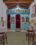 Greek orthodox small church interior Stock Photos