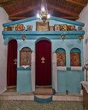 Greek orthodox small church interior Royalty Free Stock Photo