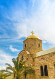 Greek Orthodox St.John the Baptist Church. In baptism site on Jordan River. Photographed close-up on a bright sunny day Stock Photos