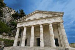 Greek orthodox temple. Rare, ancient Greek temple alike, orthodox church at Corfu, Greece Stock Photos