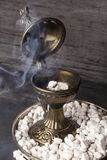 Greek Ortodox incense. Greek Ortodox church incense and burner in Athonite style. In the tradition of Mt. Athos The Holy Mountain, it begins with pure Stock Photos