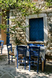 Greek outdoor tavern table Stock Photography