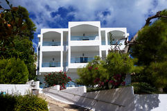Greek paradise. Outstanding architecture hotel in greek island Poros stock photo