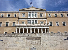 Greek parliament, Athens, Greece. The Greek parliament and the Tomb of the Unknown Soldier, Athens, Greece royalty free stock photos