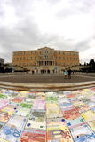 GREEK PARLIAMENT IN CRISIS  AND EURO CRACK FAILS Stock Photography
