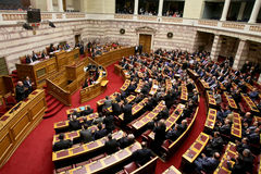 Greek parliament session Stock Photo