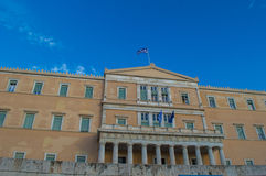 Greek parliament on  syntagma square Stock Photo