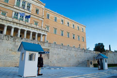 Greek parliament on  syntagma square Royalty Free Stock Images