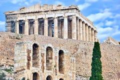 Greek Parthenon on Acropolis hill in Athens Stock Photos