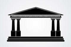 Greek parthenon silhouette isolated on white Stock Image