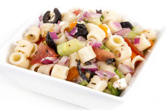 Greek pasta salad bowl Royalty Free Stock Image