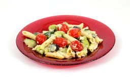 Greek Pasta Salad Red Plate Stock Photography