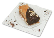 Greek Pastry. A Greek pastry served in a white plate, isolated on a white background Stock Photos