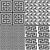 Greek patterns. Vector collection of 4 greek style geometric seamless patterns. Editable eps file available Royalty Free Stock Photo