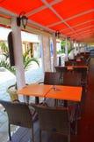 Greek pavement cafe Stock Photos