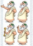 Greek Philosopher. Cartoon Greek philosopher in 4 different poses Stock Photo