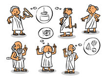 Greek  philosophers. Hand made comic figures of greek philosophers Stock Photography
