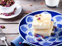 Greek phyllo pastry pie with rose custard Royalty Free Stock Images