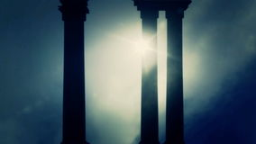 Greek Pillars on a Foggy day Background
