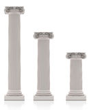 Greek Pillars three Size,  on White Background Royalty Free Stock Photography