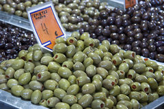 Greek pimento stuffed green olives Stock Image