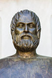 Greek poet Euripides. Statue of ancient Greek poet Euripides in Athens stock photos