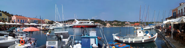 Greek port - panoramic view Stock Photography
