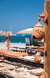 Greek pottery. Cretan pottery displayed outdoors in the port of Chania Crete Royalty Free Stock Photos