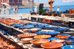 Greek pottery. Cretan pottery displayed outdoors in the port of Chania Crete Stock Image