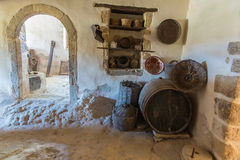Greek pottery and clay  (jug, pot, vase) in monastery  in Crete, Greece Stock Photo