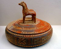 Greek pottery vase. Ancient Greece pottery vase with horses Stock Photos