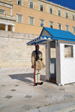 The Greek Presidential guard called Evzoni or Tsoliades dressed in traditional uniform Royalty Free Stock Photos