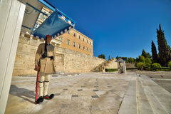 The Greek Presidential guard called Evzoni or Tsoliades dressed in traditional uniform Stock Images