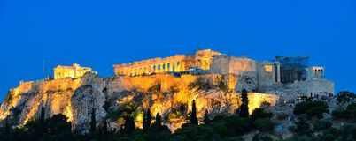 Night scenes of Acropolis and Parthenon Stock Images