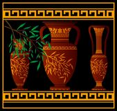 Greek red amphoras and jug Royalty Free Stock Photo