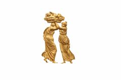 Greek relief of man and woman. Made of gold. Man carrying a greek god of love- Amor in the basket on his head Stock Photography