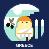 Greek Resident in Vector Illustration. Resident of Greece in traditional clothes and on the national background in flat style, vector illustration Stock Image